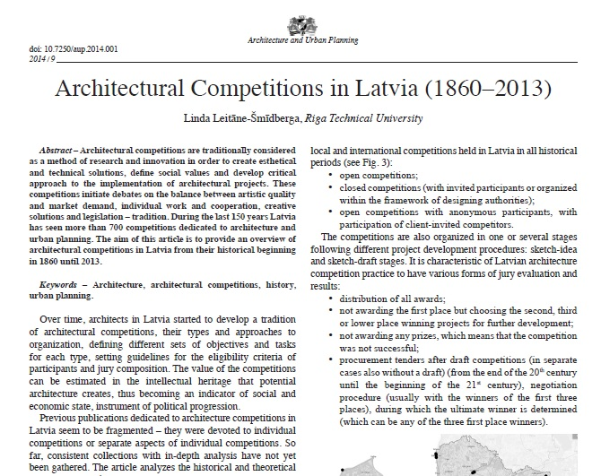 Architectural competitions in Latvia (1860 – 2013)